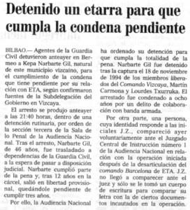 """""""El Mundo del País Vasco"""", 22-9-2001, página 22."""